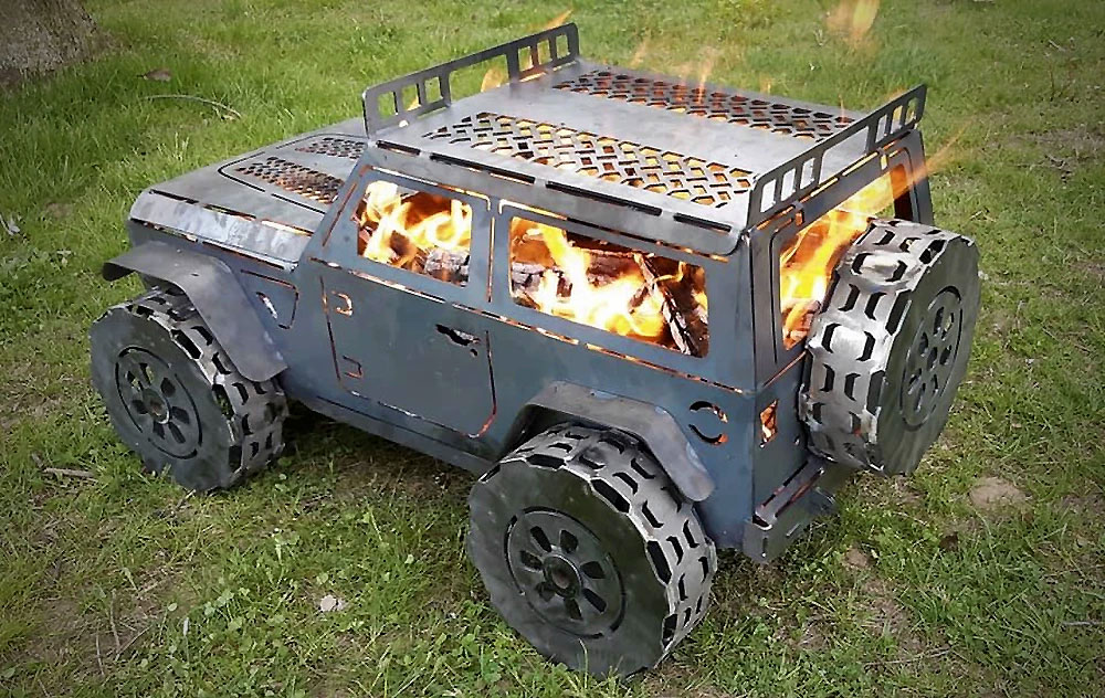 Jeep Wrangler Chiminea Fireplace